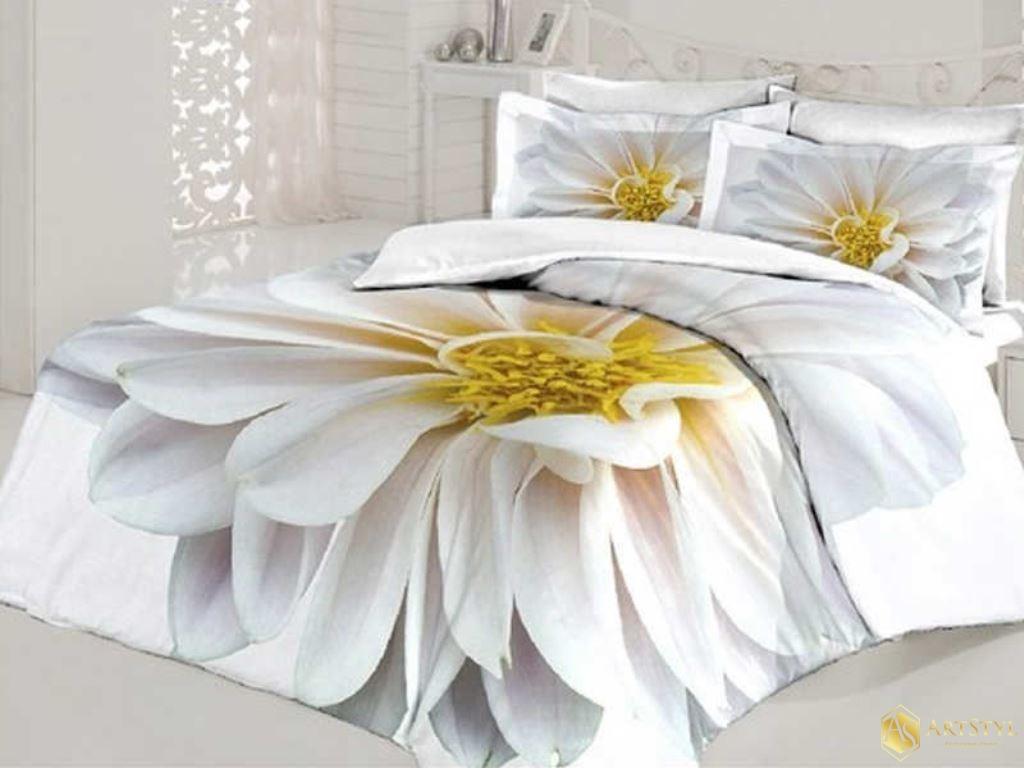 ekskluzywny komplet po cieli digital casadora white flower 200 x 220 cm. Black Bedroom Furniture Sets. Home Design Ideas